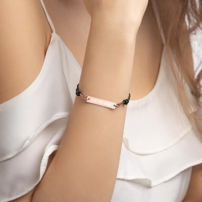 LOVE YOU MORE Engraved Silver Bar String Bracelet