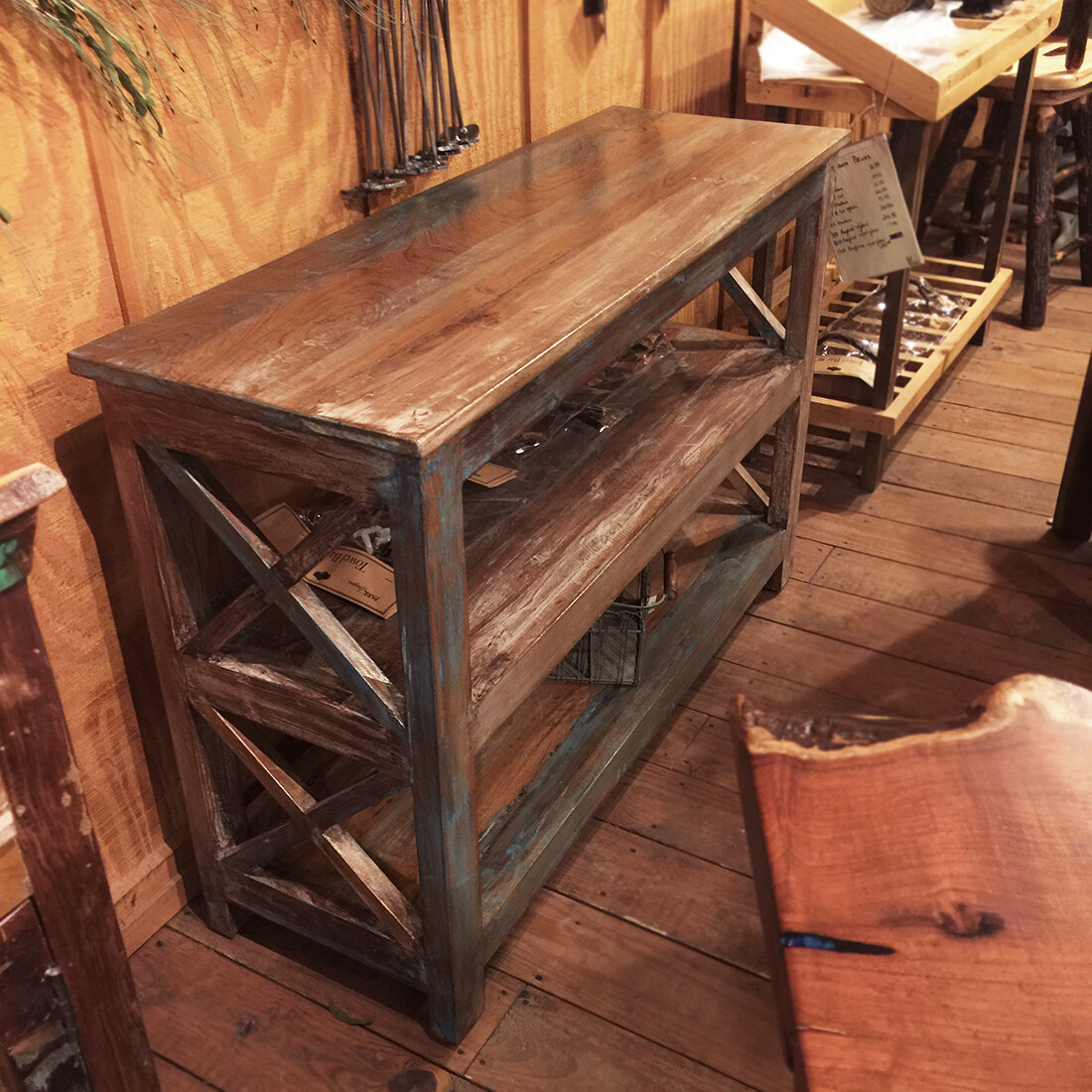 Reclaimed Wood Console Table with 3 Shelves