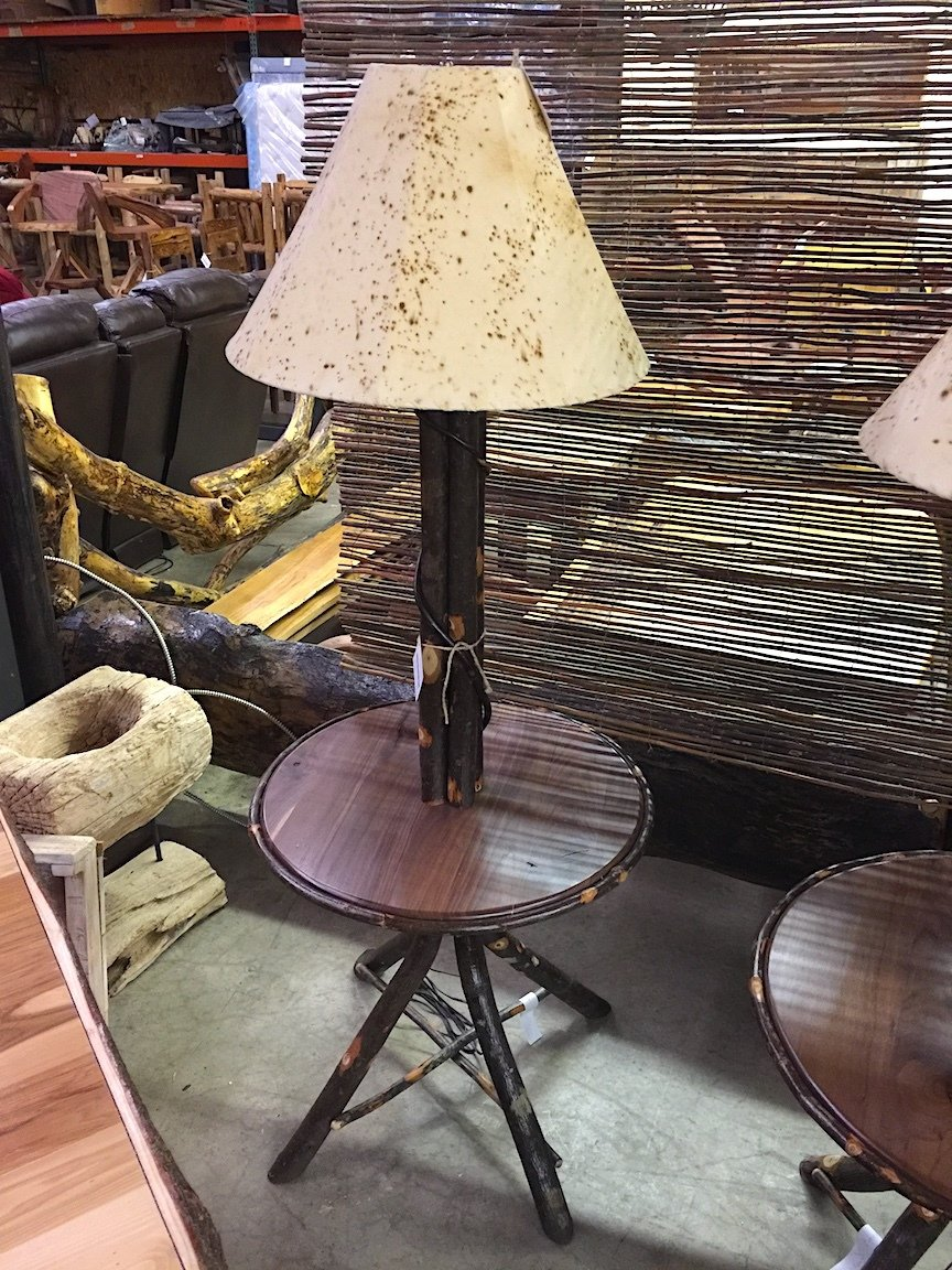 Floor Lamp w/ table Hickory and Hickory