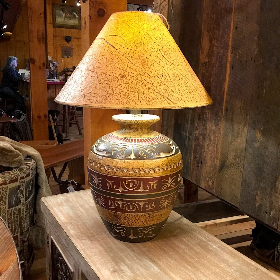 "30"" Table Lamp Hydrocal/Haze Saddle"