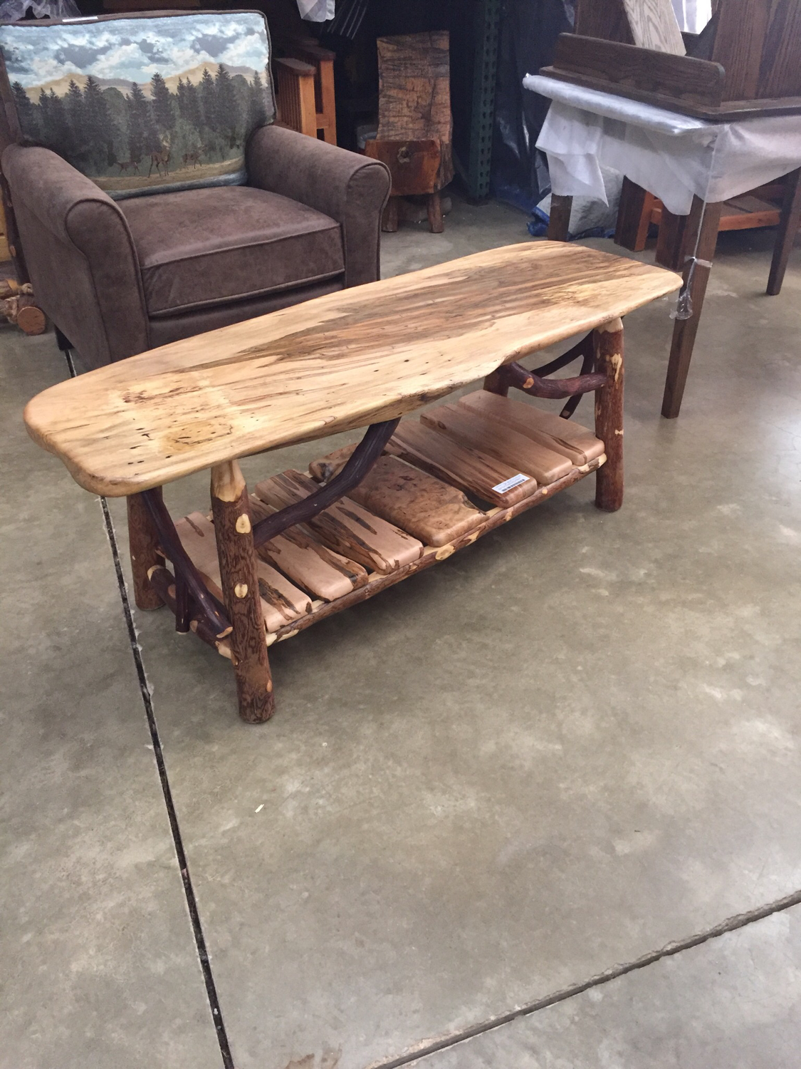 Spaulted Maple Coffee Table w/Magazine Rack