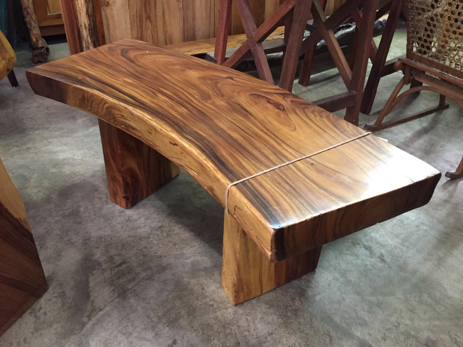 Monkey Pod Curved Bench