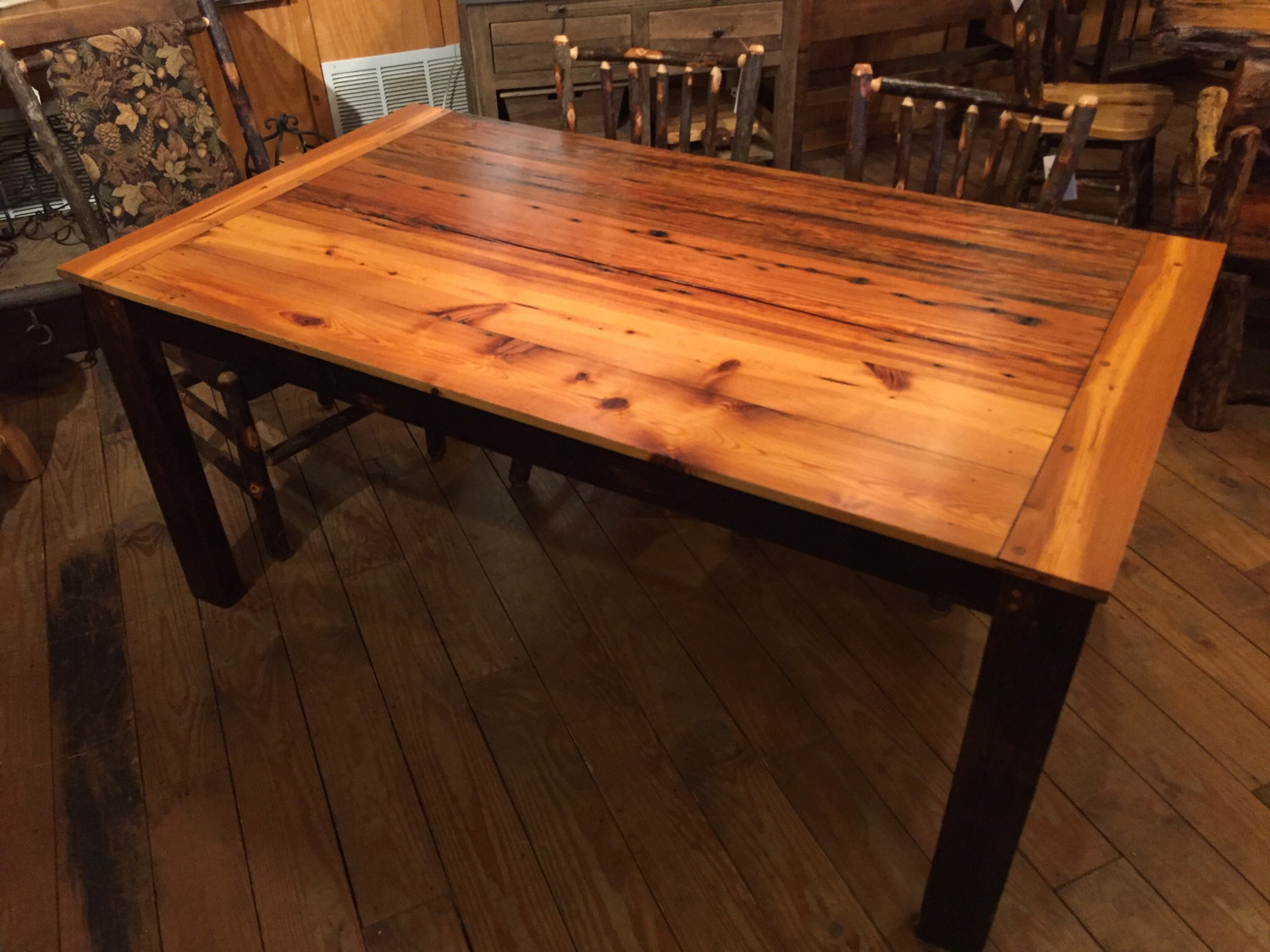 Heart Pine Top Dining Table