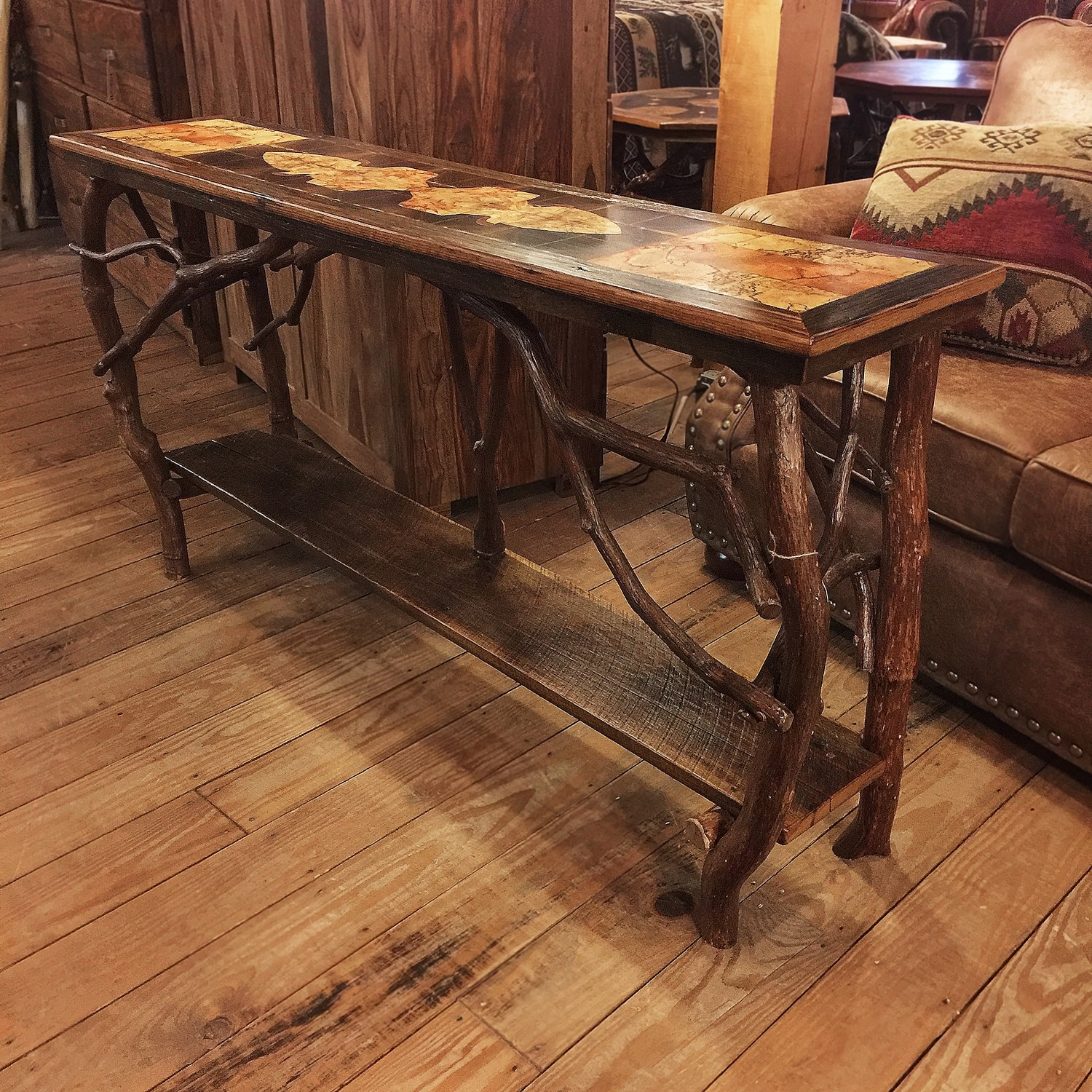 Inlaid Rustic Sofa Table with Shelf