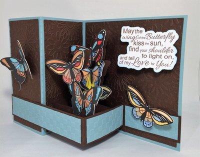 Butterfly:  Aqua -Brown