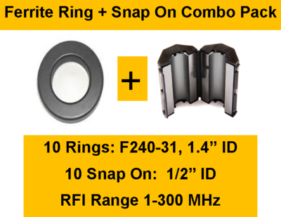 Ferrite Ring and Snap On Combo Pack - 10 Rings (1.4