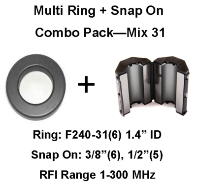 Multi-Ring/Multi-Snap On Combo Pack, Mix 31, RFI Range 1-300 MHz - 17 filters