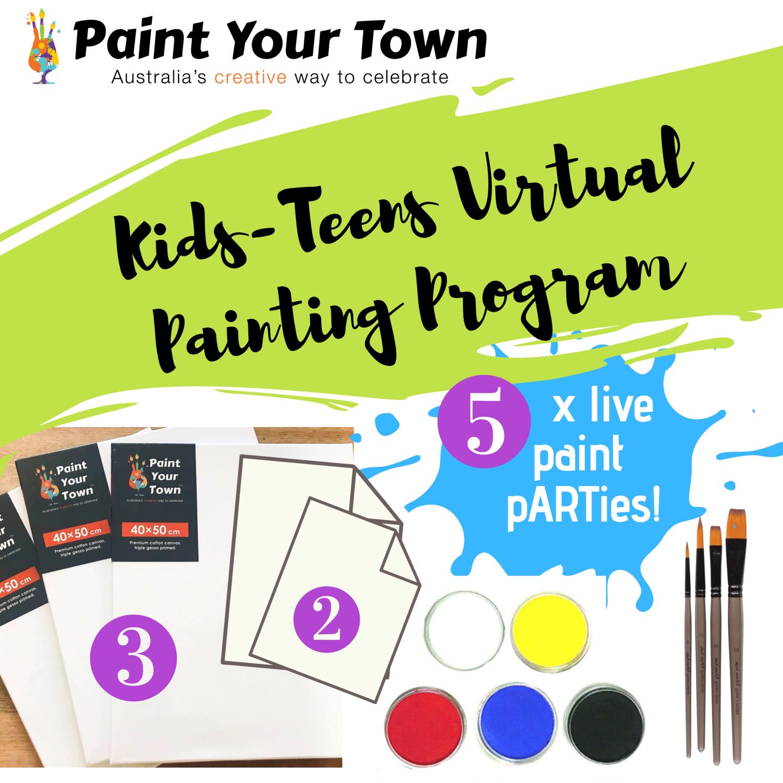 Kids & Teens Virtual Painting Program - 5 live paint pARTies! + materials