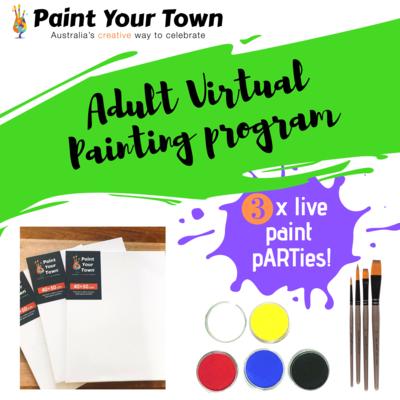Adult Virtual Painting Program - 3 live paint pARTies! + materials