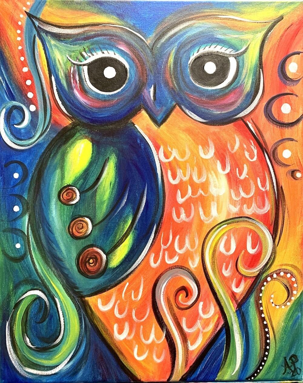 Rainbow Owl - Virtual Class (no supplies)