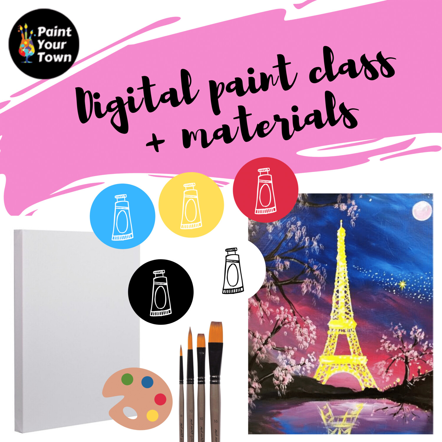 Eiffel Tower - Virtual class  + written instructions + supplies