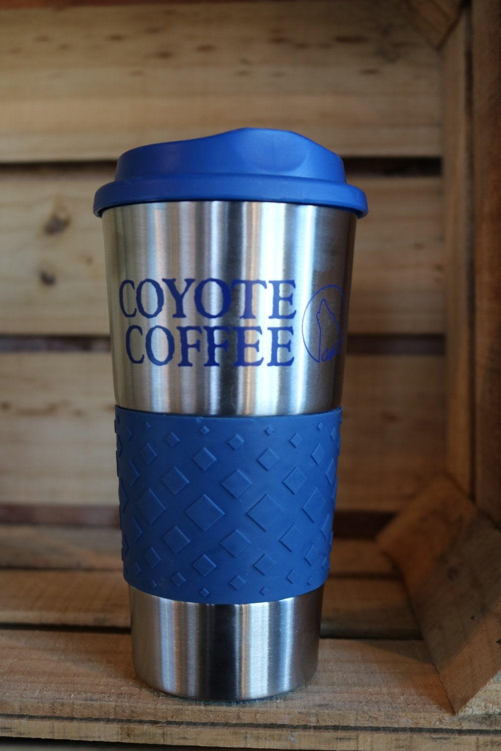 Coyote Coffee Blue and Silver Tumbler