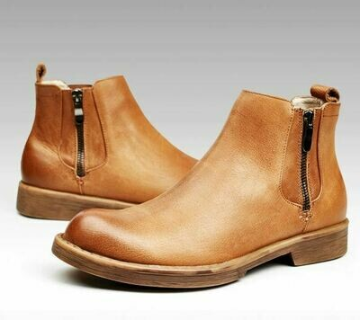 Brown Homme Formal Side Zip Boot