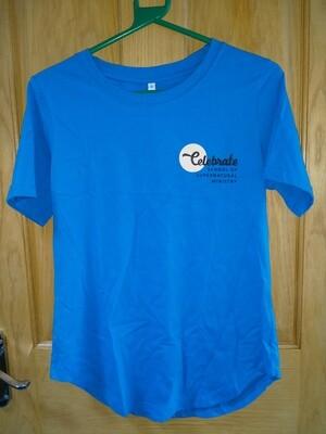 Celebrate School T shirt rounded bottom Aqua Blue