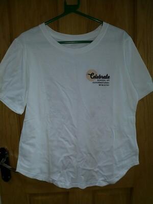 Celebrate School rounded bottom white t shirt