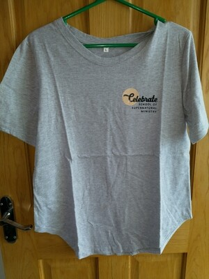 Celebrate School grey t shirt rounded bottom