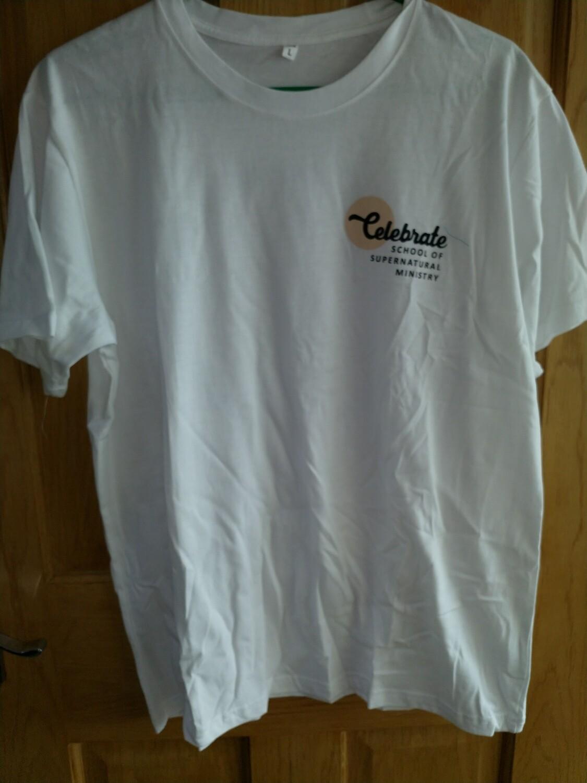 Celebrate School T shirt Straight bottom white