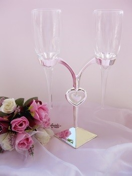Crystal Heart Stand Wedding Toasting Flutes