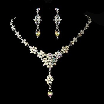 Necklace Earring Set Silver AB