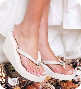 Breeze ~ White High Wedge Flip Flops
