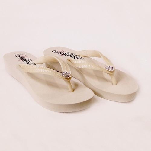 Summer ~ Low Heel Ivory Flip Flops
