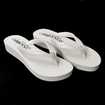 Sunshine ~ Low Heel White Flip Flops