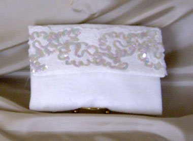WHITE SATIN CLUTCH