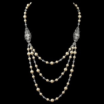 Silver Ivory 3 Row Pearl Back Dangle Necklace