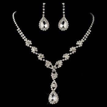 Silver Clear Rhinestone Flower Drop Jewelry Set