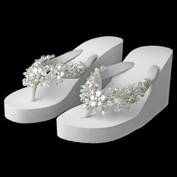 High Wedge Flip Flops with Crystal & Freshwater Coin Pearl Accents