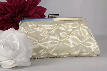 IVORY SATIN BRIDAL PURSE