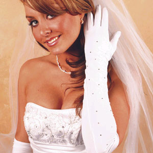 MATTE SATIN GLOVES  BY WEDDING FACTORY DIRECT