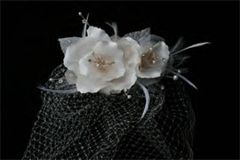 CAGE VEIL WITH WHITE ROSES by ENVOGUE ACCESSORY'S