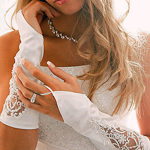 EMBROIDERED FINGERLESS GLOVES  BY WEDDING FACTORY DIRECT