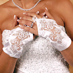 SATIN WRIST FINGERLESS GLOVES  BY WEDDING FACTORY DIRECT