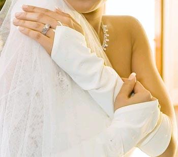 ELEGANT BEADED FINGERLESS GLOVE  BY WEDDING FACTORY DIRECT
