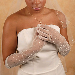 SHEER GLOVES WITH PEARLS  BY WEDDING FACTORY DIRECT