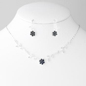 Necklace Earring Set in Silver Black