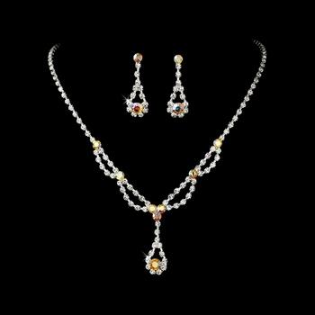 Silver AB Rhinestone Bridal Jewelry Set