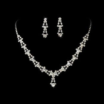 Silver and Clear Crystal Necklace Earring Set
