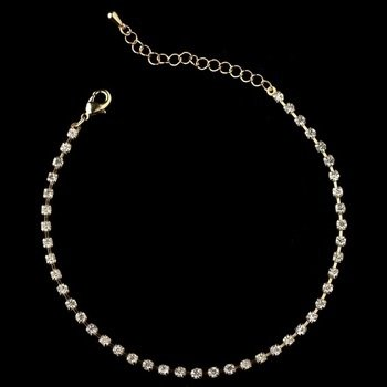 Gold Clear Rhinestone Anklet