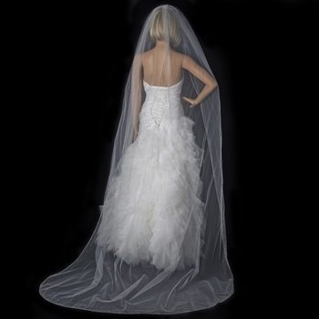 Single Tier Cathedral  Veil with Crystal Rhinestone & Beaded Edge by WEDDING FACTORY DIRECT