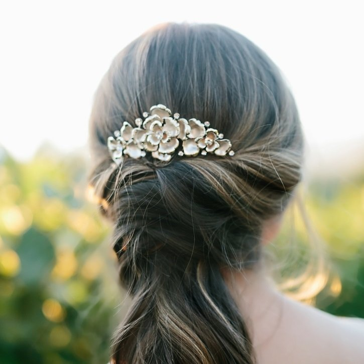Rhinestone Accent Bridal Veil Comb by ENVOGUE ACCESSORY'S