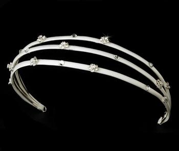 Charming White Flower Headband w/ Clear Crystals