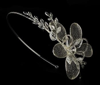 Silver Dainty Flower Rhinestone Mesh Bridal Headband