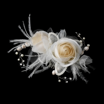 Ivory & Rum Pink Rose & Feather Bridal Clip by WEDDING FACTORY DIRECT
