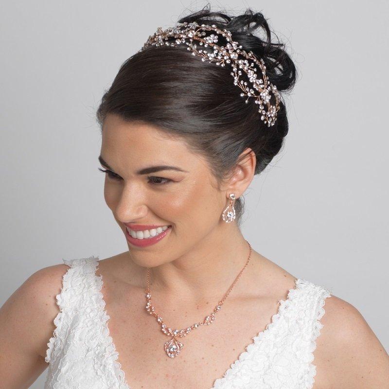 Rose Gold Clear Rhinestone Hair Vine Headband