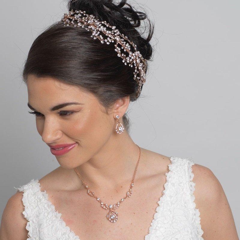 Rose Gold Clear Rhinestone Drop Jewelry Set