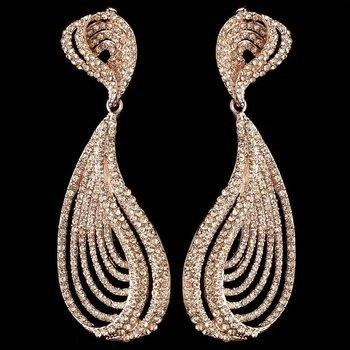 Rose Gold Peach Rhinestone Dangle Earrings