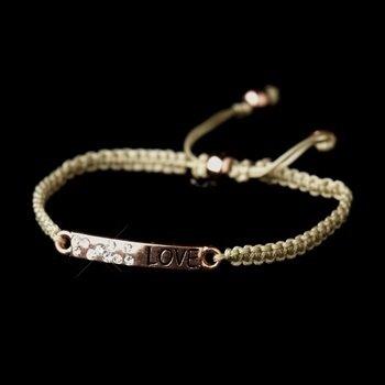 "Rose Gold Bracelet ""Love"" Corded Rope Fashion"